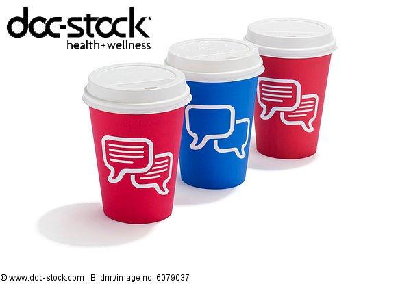 Drei Essen Trinken Tassen mit Sprechblasen auf Sie