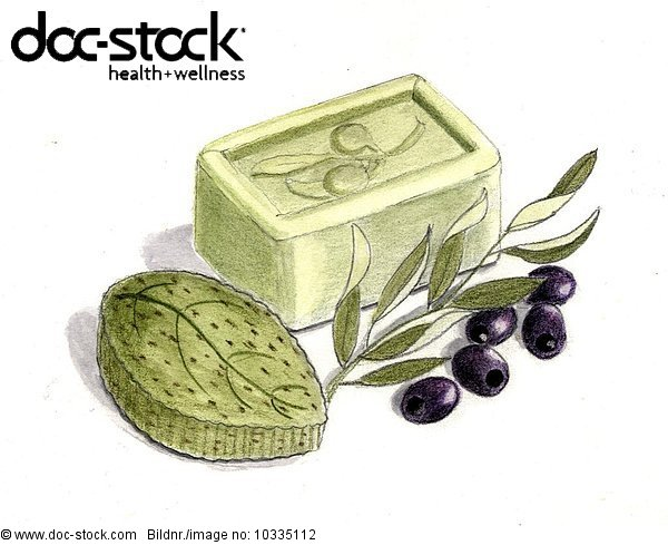 Olive soaps with olives and olive branch