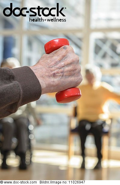 Fitness with hand weight in nursing home